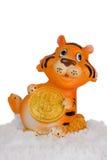 Tijger, een symbool van 2010 op een sneeuw. Stock Fotografie