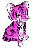Tijger, kleuren vectorillustratie De inschrijving op illustratie is een hiëroglief van tijger stock illustratie