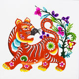 Tijger, kleurendocument knipsel. Chinese Dierenriem. royalty-vrije stock afbeelding