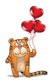 Tijger met ballons Stock Foto's