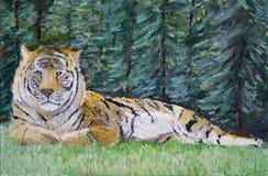 Tijgerolieverfschilderij Stock Foto
