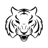 Tijgerpictogram op een witte achtergrond Het malplaatje van het tijgerembleem, stock illustratie