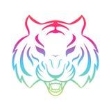 Tijgerpictogram op een witte achtergrond wordt geïsoleerd die Het malplaatje van het tijgerembleem, Stock Afbeelding