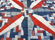 Tijolo branco e azul vermelho Sun Imagem de Stock Royalty Free