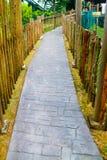 Tijolo da passagem no jardim com grama verde Imagens de Stock Royalty Free