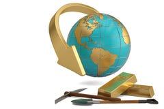 Tijolo e globo do ouro no fundo branco ilustração 3D ilustração do vetor