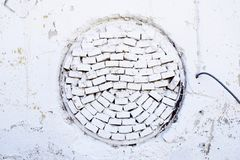 Tijolos brancos em um círculo - parede Fotografia de Stock