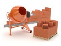 Tijolos e misturador concreto, ilustração 3D ilustração do vetor