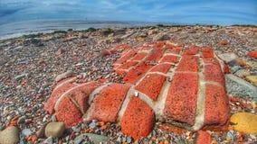 Tijolos lavados afastado pela maré em Crosby Fotografia de Stock