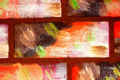 Tijolos multi-coloridos decorativos pintados da imitação da parede Fundo brilhante abstrato feito à mão para o projeto foto de stock royalty free