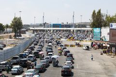 Cars Wait in Lines to Cross the Border From Tijuana to San Diego Stock Photography