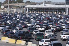 Tijuana border crossing traffic chaos Royalty Free Stock Image