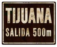 Tijuana City Limits Sign Salada. Tijuana Mexico Entrance Highway Sign Metal Salida 500 meters Mexican Road City Limits Old Grunge Stock Photo
