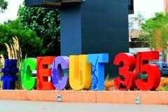 Tijuana Cultural Center sinal de um aniversário de 35 anos Imagem de Stock Royalty Free
