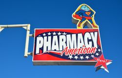 Tijuana, Mexico-August 10, 2014: A sign for a Mexican pharmacy selling Viagra Stock Photo