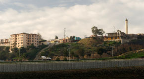 Tijuana Mexico Looking Across Barbed Wire Boundary San Diego Cal Stock Images