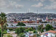 Tijuana, US-Mexico border. Tijuana city and the wall at US-Mexico border. View from San Ysidro, California royalty free stock images