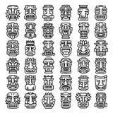 Tików idolów ikony ustawiać, konturu styl ilustracji