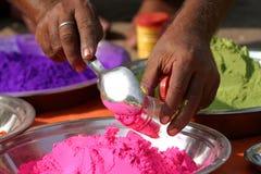 Tika powder. Colored tika powders, India Stock Photos