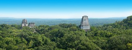 Tikal Mayan Ruins, Guatemala Travel. Ancient ruins of the Tikal pyramid in Guatemala of Central America. The Mayan Indians were great stone builders. Guatemala Royalty Free Stock Image