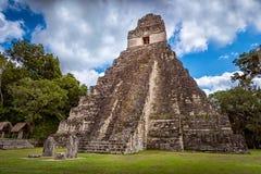 Tikal nationaal park dichtbij Flores in Guatemala stock afbeelding