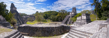 Tikal Panoramic. Panoramic view of the Mayan ruins of Tikal in Guatemala Stock Image