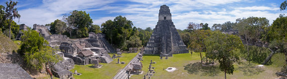 Tikal panoramisch Stockfoto