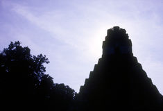 Tikal temple. Temple I in the Great Plaza of the UNESCO Heritage site of Tikal Royalty Free Stock Photos