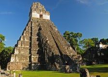 Tikal Temple I scenic. Scenic view of ancient Tikal Temple I, Tikal, Guatemala Stock Photo
