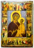 Tikhvin的上帝的母亲与场面的从她的生活,第15个cen 免版税库存图片