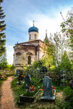 Tikhvin church of job the long-suffering and cemetery Royalty Free Stock Photo