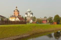 Tikhvin Mariański Tikhvin wniebowzięcia monaster Widok od Fishevoy gór Rosja fotografia royalty free