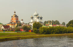Tikhvin. Marian Tikhvin Assumption Monastery. View from Fishevoy mountains. Russia. Stock Photo