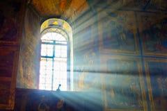 Tikhvin monasteru katedra przypuszczenia wnętrze Obrazy Royalty Free