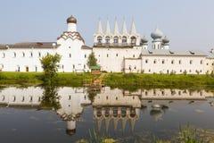 Tikhvin. Theotokos Tikhvin Assumption Monastery. View from the lake syrkovoy. Russia. Stock Photo
