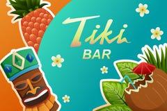 Tiki酒吧海报例证 免版税库存图片