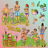 Tiki Bar Collection, Hand drawn vector Stock Photography