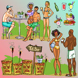 Tiki Bar Collection, Hand drawn vector Royalty Free Stock Image