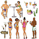 Tiki Bar Collection, Hand drawn vector Stock Photos