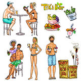 Tiki Bar Collection, Hand drawn vector Stock Images