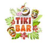 Tiki bar hawaii party sticker Royalty Free Stock Photography