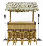 Tiki Bar Isolated. Tiki bar, hut with faux thatch, 4 barstools, tiki torches - isolated on white stock images