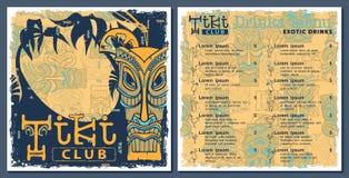 Tiki bar menu. Bar cafe menu, template design. Drinks flyer Royalty Free Stock Image