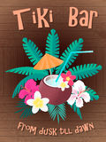 Tiki bar Poster From dusk till dawn. Vector illustration Stock Photo
