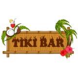 Tiki bar poster with tribal mask. Vector design of Tiki bar poster on bamboo Royalty Free Stock Photo