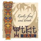 Tiki bar sign. Background, grunge frame, text, tiki on separate layers Royalty Free Stock Image