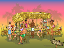 Tiki Bar vector background Royalty Free Stock Image