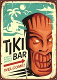 Tiki bar vintage sign concept with tiki mask and tropical landscape Stock Photos
