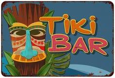 Tiki Bar Vintage Tin Sign-Cocktail party stock illustratie