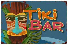 Tiki Bar Vintage Tin Sign Cocktail Party. Vintage Tiki Bar Lounge Tin Sign Retro Style Cocktail Invitation Poster Hawaiian Royalty Free Stock Image